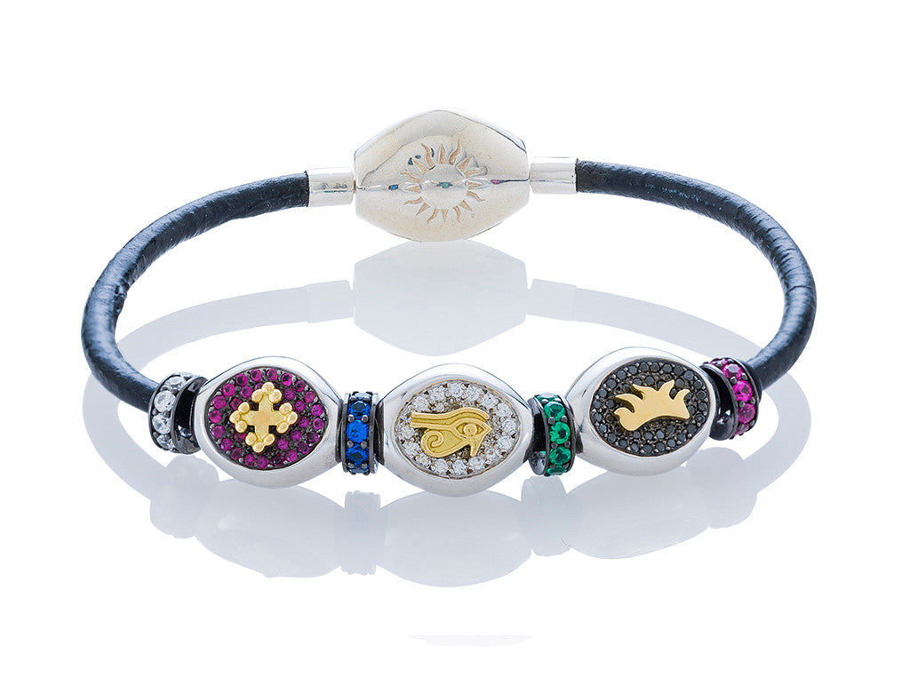 The Sydney Pavé Classic Bracelet on Leather - Small Charms