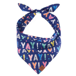 Birthday Yay Navy Dog Bandana (Reversible) from The Foggy Dog