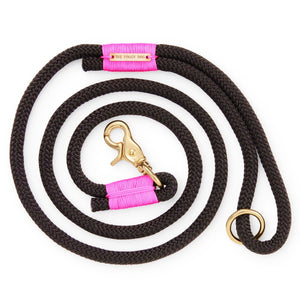 Black and Neon Pink Climbing Rope Dog Leash from The Foggy Dog