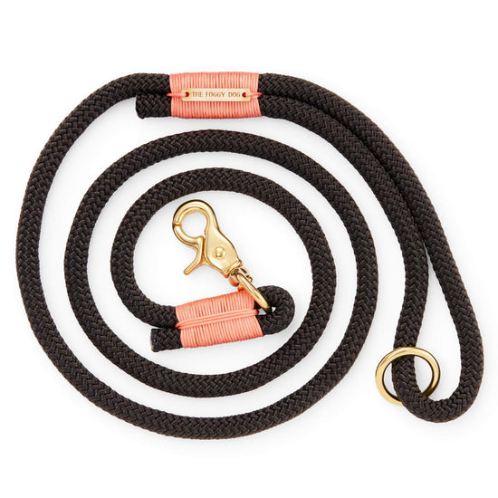 Black and Peach Climbing Rope Dog Leash from The Foggy Dog