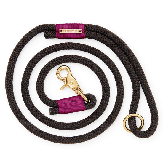 Black and Purple Climbing Rope Dog Leash from The Foggy Dog