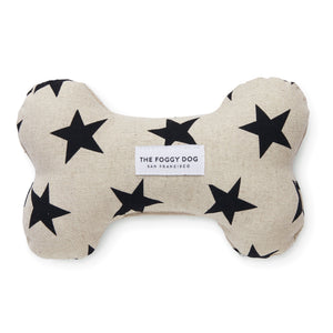 Black Stars Dog Squeaky Toy from The Foggy Dog