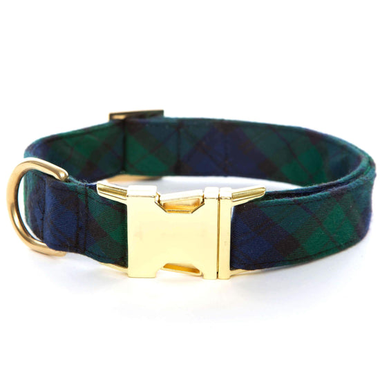 Blackwatch Plaid Dog Collar from The Foggy Dog XS Gold