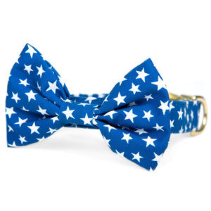 Blue Stars Bow Tie Collar from The Foggy Dog