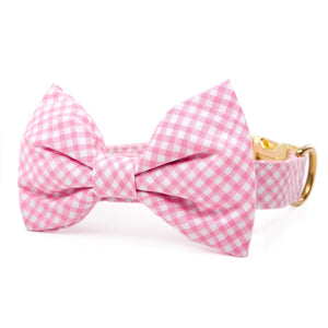 Carnation Gingham Bow Tie Collar from The Foggy Dog