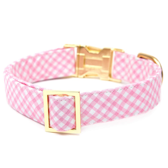 Carnation Gingham Dog Collar from The Foggy Dog