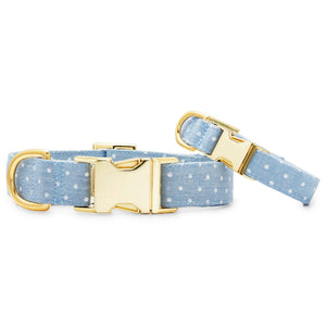 Chambray Dots Dog Collar from The Foggy Dog