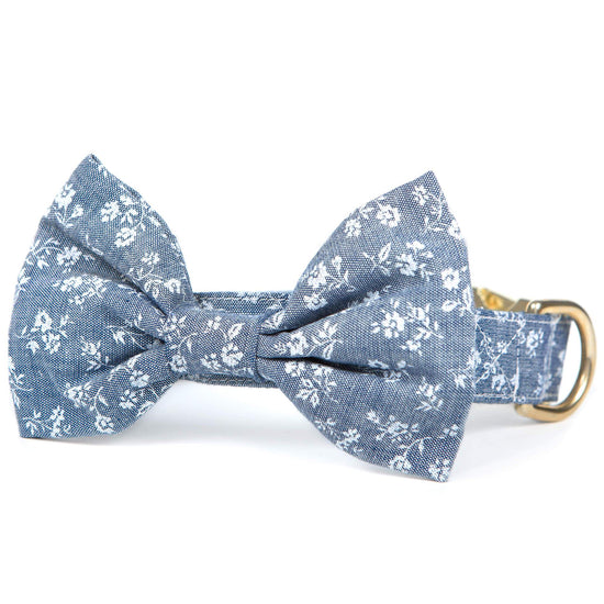 Chambray Floral Bow Tie Collar from The Foggy Dog