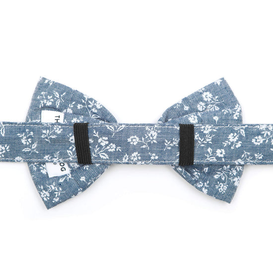 Chambray Floral Dog Bow Tie from The Foggy Dog