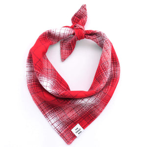 Cherry Plaid Flannel Dog Bandana from The Foggy Dog
