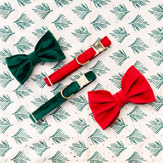 Cranberry Velvet Dog Bow Tie from The Foggy Dog