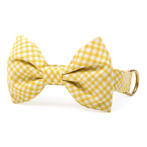 Daffodil Gingham Bow Tie Collar from The Foggy Dog