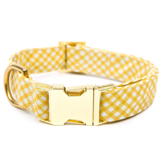 Daffodil Gingham Dog Collar from The Foggy Dog