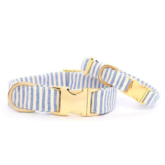 French Blue Stripe Dog Collar from The Foggy Dog