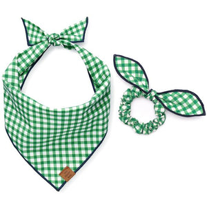 Grass Gingham Scrunchie and Bandana Set from The Foggy Dog