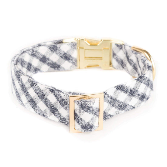Gray and White Check Flannel Dog Collar from The Foggy Dog