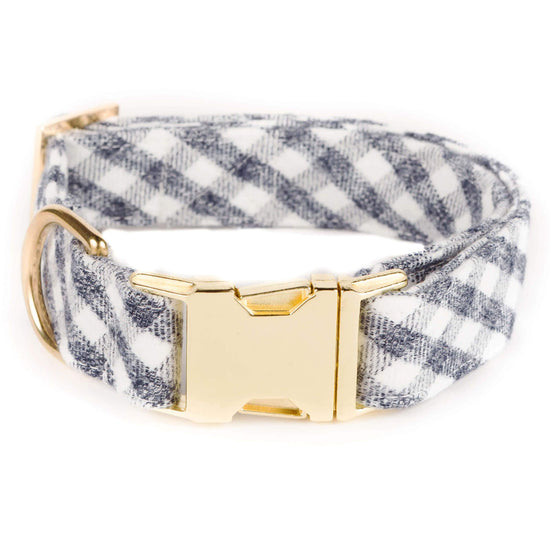 Gray and White Check Flannel Dog Collar from The Foggy Dog XS Gold