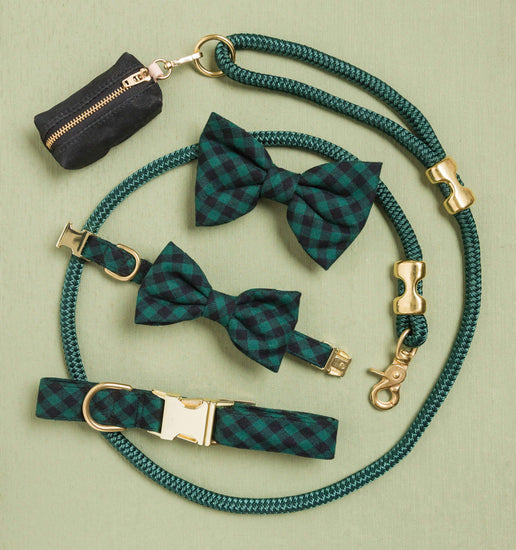 Green and Black Check Flannel Dog Bow Tie from The Foggy Dog