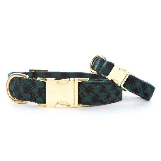 Green and Black Check Flannel Dog Collar from The Foggy Dog