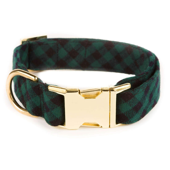 Green and Black Check Flannel Dog Collar from The Foggy Dog XS Gold