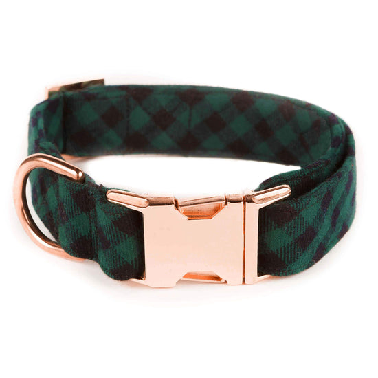 Green and Black Check Flannel Dog Collar from The Foggy Dog XS Rose Gold