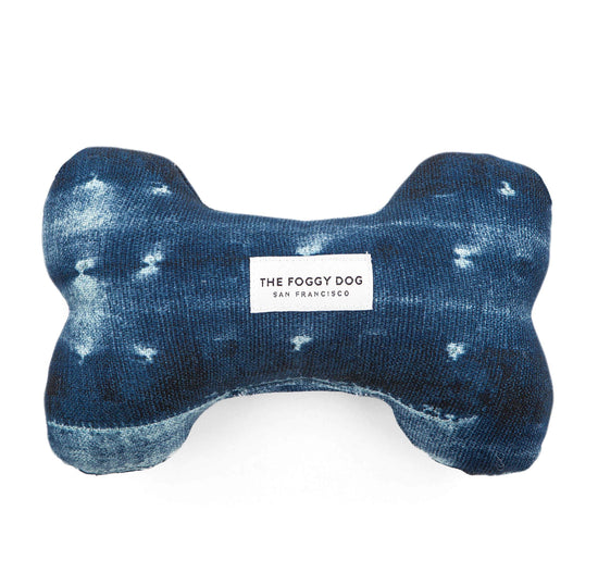 Indigo Mud Cloth Squeaky Toy from The Foggy Dog