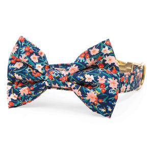 Inky Blooms Bow Tie Collar from The Foggy Dog