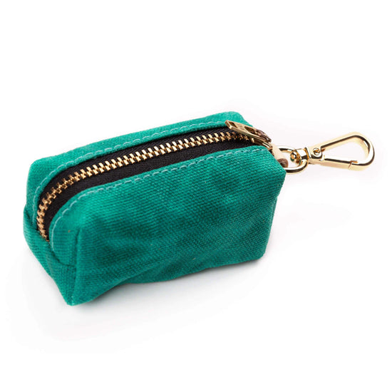 Jade Waxed Canvas Waste Bag Dispenser (choice of zipper color) from The Foggy Dog