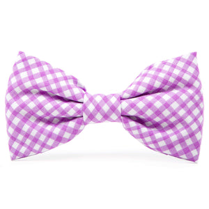 Lavender Gingham Dog Bow Tie from The Foggy Dog
