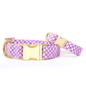 Lavender Gingham Dog Collar from The Foggy Dog