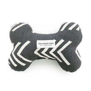 Modern Mud Cloth Black Dog Squeaky Toy from The Foggy Dog