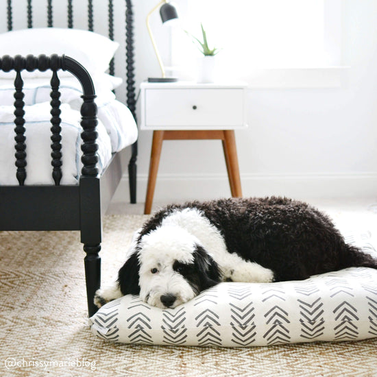 Modern Mud Cloth Natural Dog Bed from The Foggy Dog