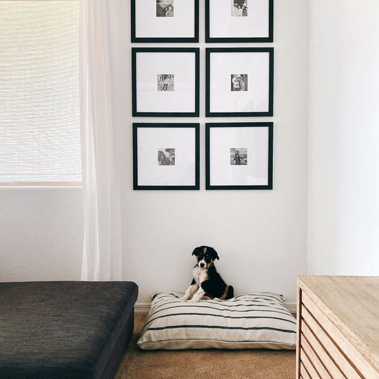 Modern Stripe Charcoal Dog Bed from The Foggy Dog