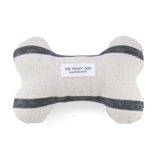 Modern Stripe Charcoal Dog Squeaky Toy from The Foggy Dog