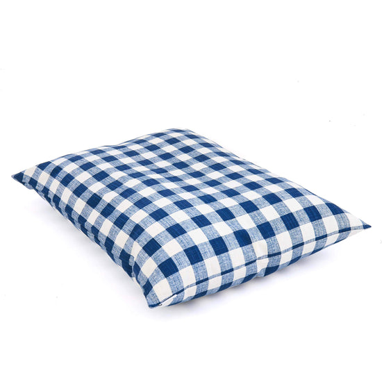 Navy Blue Gingham Check Dog Bed from The Foggy Dog