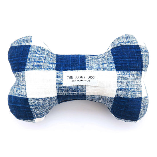Navy Blue Gingham Dog Squeaky Toy from The Foggy Dog