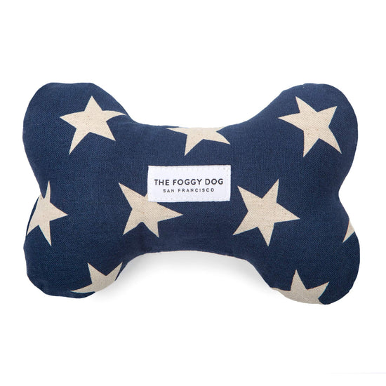 Navy Stars Dog Squeaky Toy from The Foggy Dog