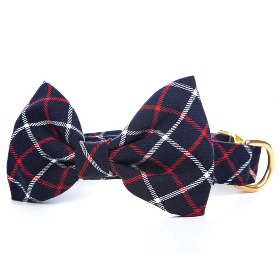 Oxford Plaid Bow Tie Collar from The Foggy Dog