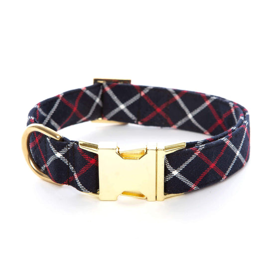 Oxford Plaid Dog Collar from The Foggy Dog XS Gold