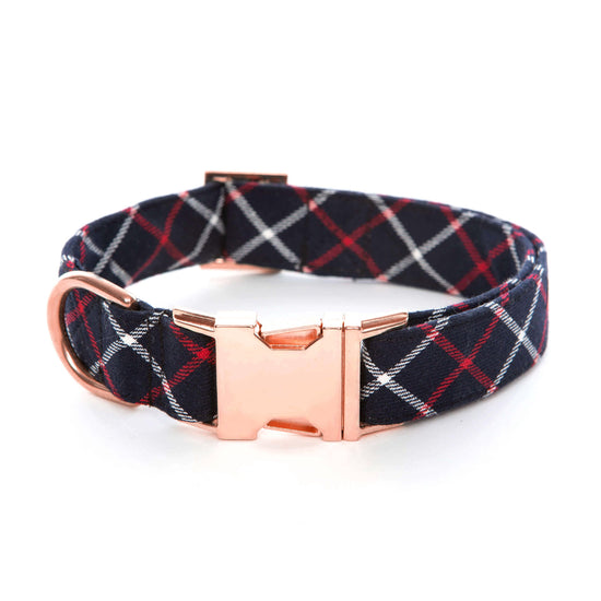 Oxford Plaid Dog Collar from The Foggy Dog XS Rose Gold