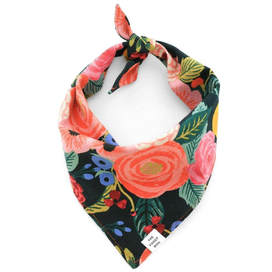 Painted Peonies Midnight Dog Bandana from The Foggy Dog