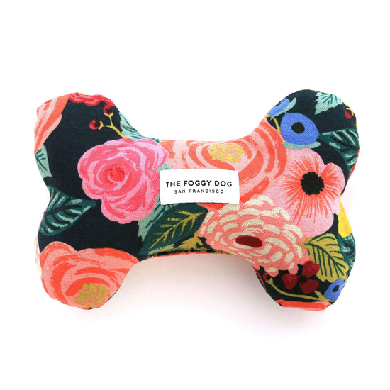 Painted Peonies Midnight Dog Squeaky Toy from The Foggy Dog