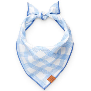 Periwinkle Plaid Dog Bandana from The Foggy Dog