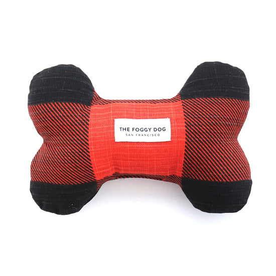 Red and Black Check Dog Bone Squeaky Toy from The Foggy Dog