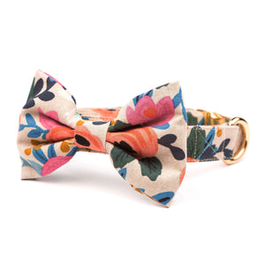 Rosa Floral Natural Bow Tie Collar from The Foggy Dog