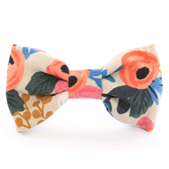 Rosa Floral Natural Dog Bow Tie from The Foggy Dog