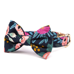 Rosa Floral Navy Bow Tie Collar from The Foggy Dog