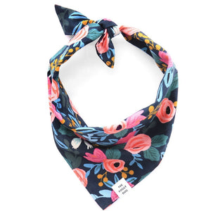 Rosa Floral Navy Dog Bandana from The Foggy Dog