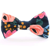 Rosa Floral Navy Dog Bow Tie from The Foggy Dog