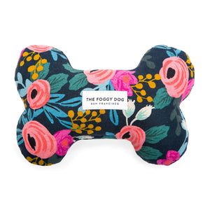 Rosa Floral Navy Dog Squeaky Toy from The Foggy Dog